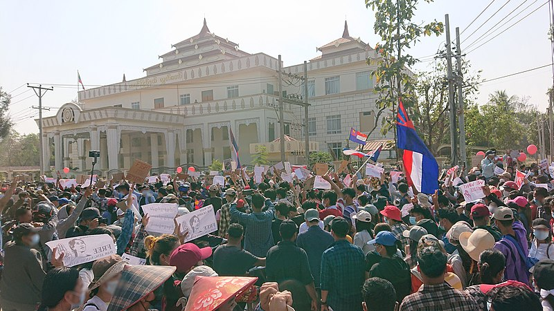Citizens of Myanmar protest against coup by vicious military