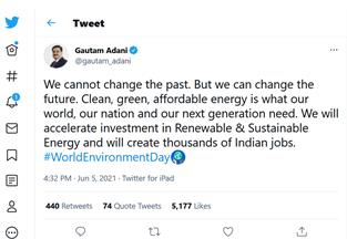 Gautam Adani's tweet on World Environment Day 2021