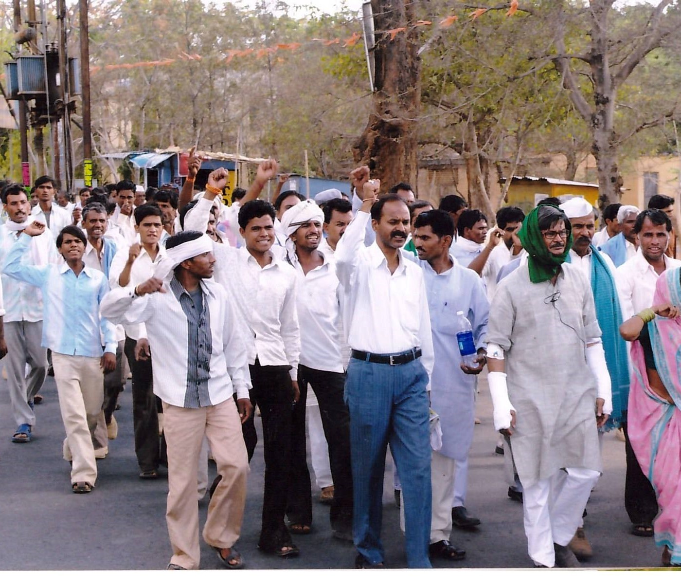 Protest march in 2011, including leaders injured by alleged assaults by project supporters. Courtesy KSS