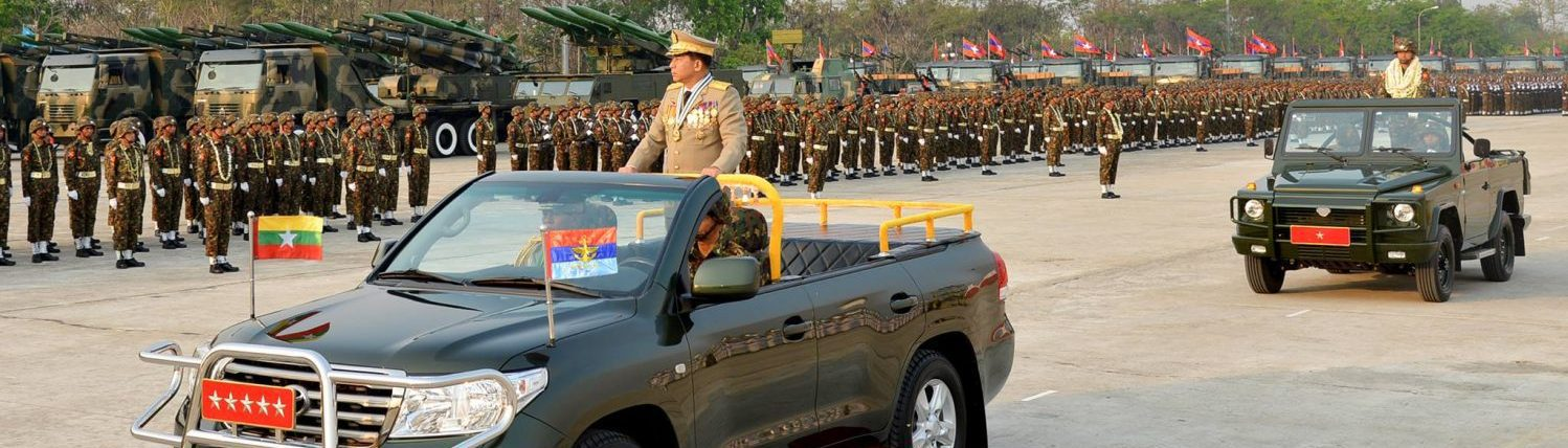 Senior General Min Aung Hlaing, coup leader and self-declared prime minister of Myanmar, subject to sanctions by the USA, honoured guest at Adani Ports in 2019.