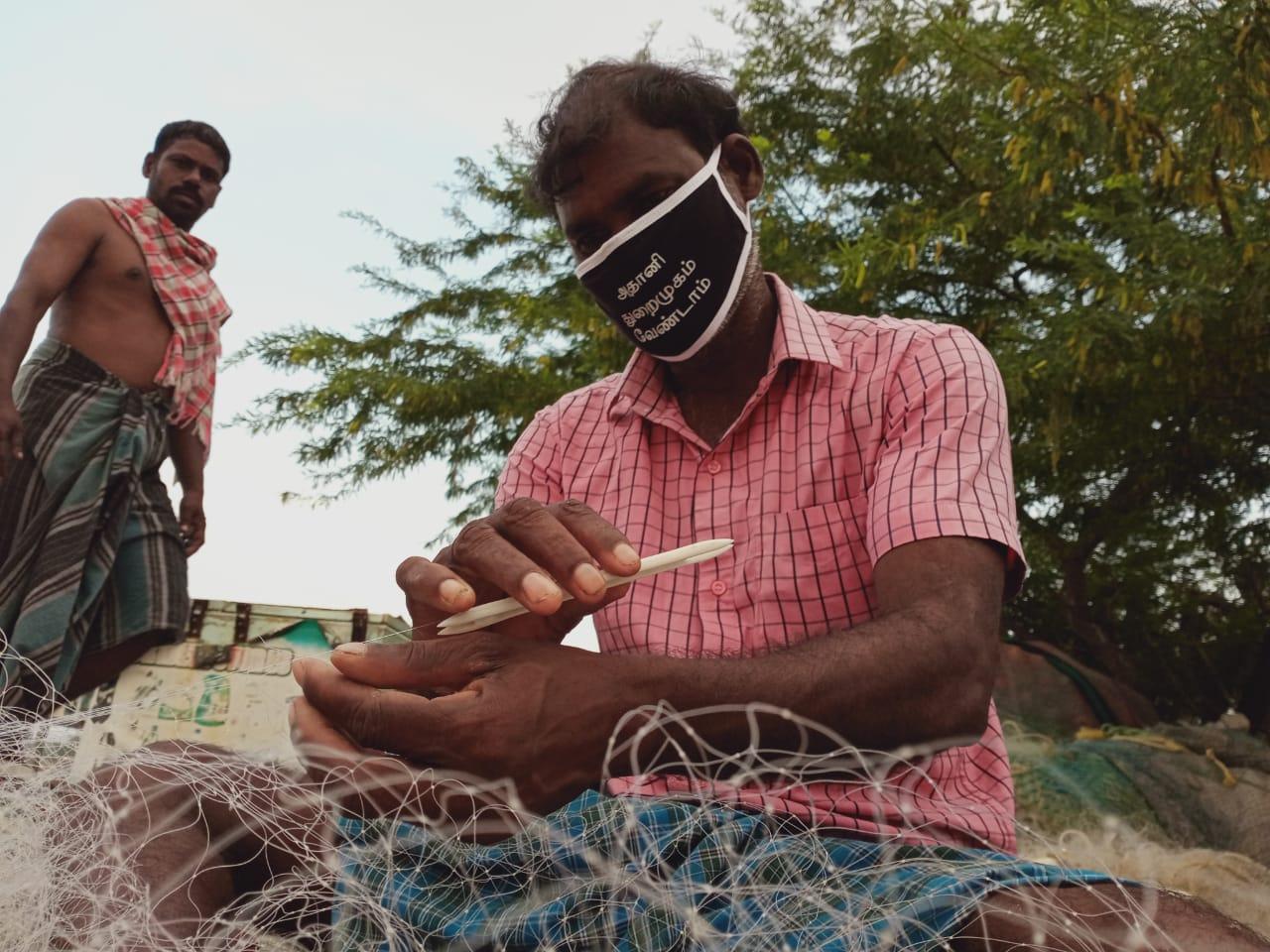 Fishers prepare their nets at Lake Pulicat, threatened by Adani Ports expansion. Image courtesy K. Saravanan, S. Palayam