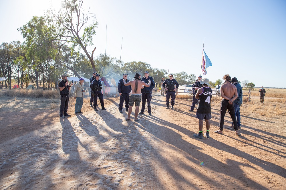 Confrontation near Adani Carmichael project between police and Indigenous Owners of Country, August 2020