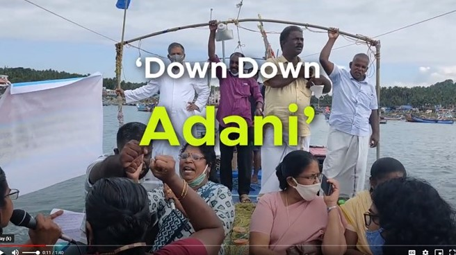 Fishing communities protest on the water against Adani's Vizhinjam port expansion
