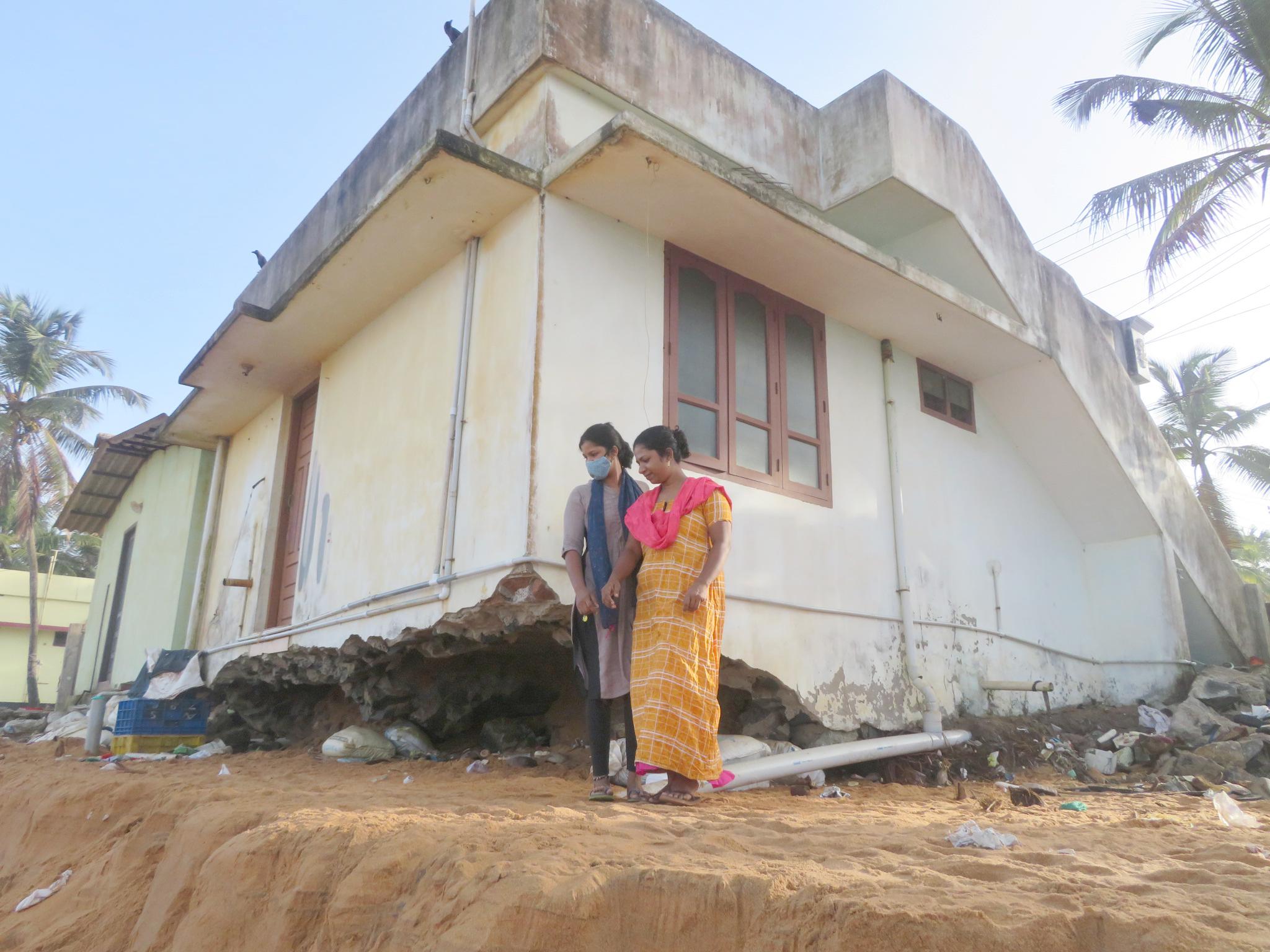 The family home of Preetha Jerald, on the brink of destruction due to coastal erosion blamed on Adani's Vizhinjam port redevelopment