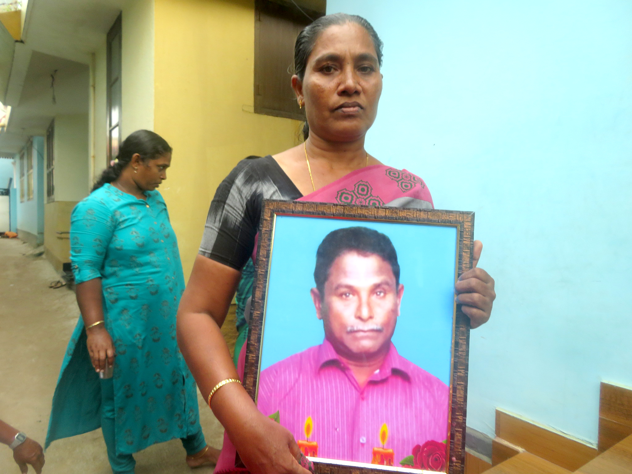 The widow of Davidson ('Stella'), mourning the fisherman who lost his life when waves rebounding from the Adani Group's Vizhinjam breakwater capsized his fishing boat in May 2021