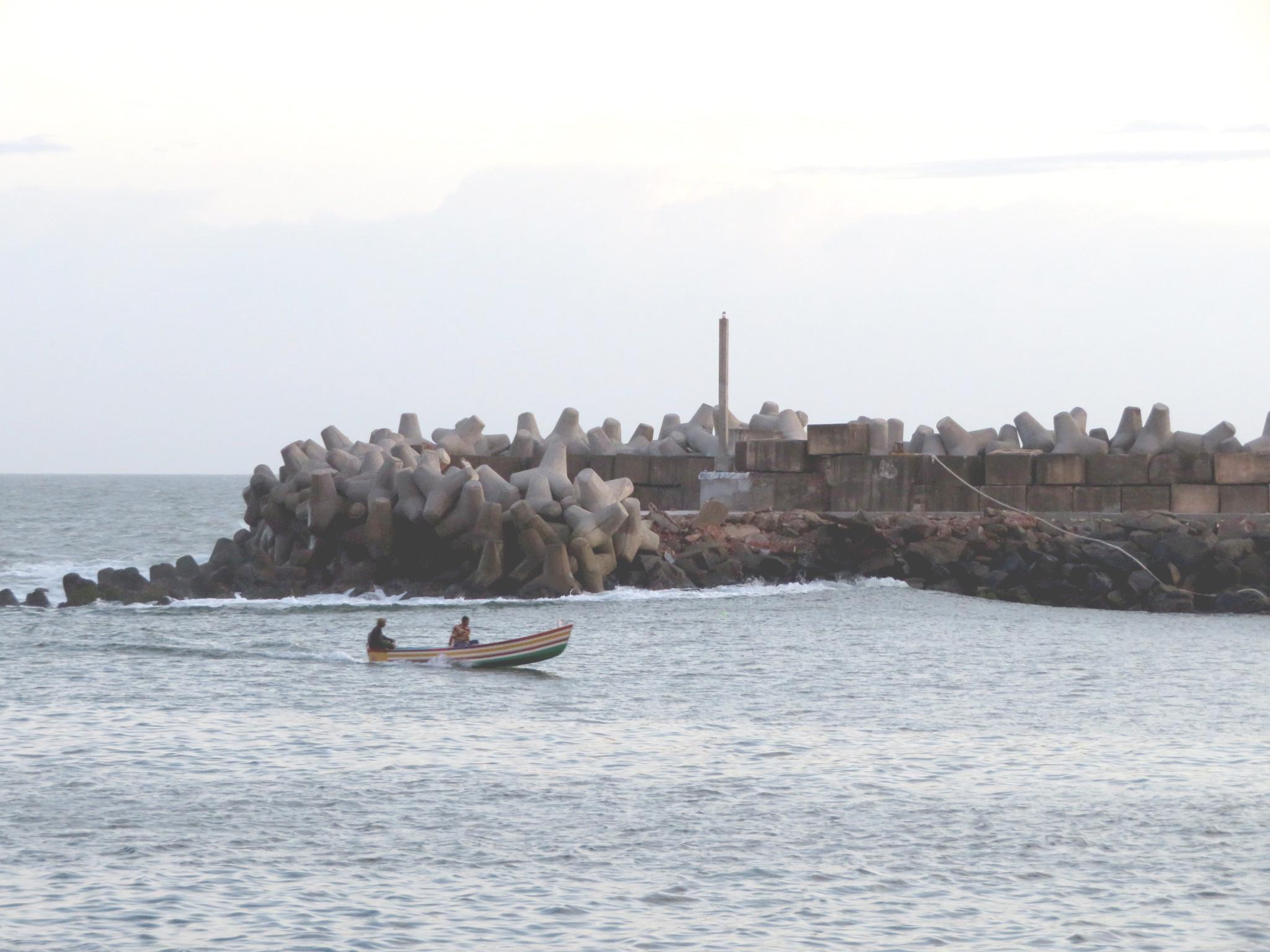 Near the harbour mouth, Vizhinjam.