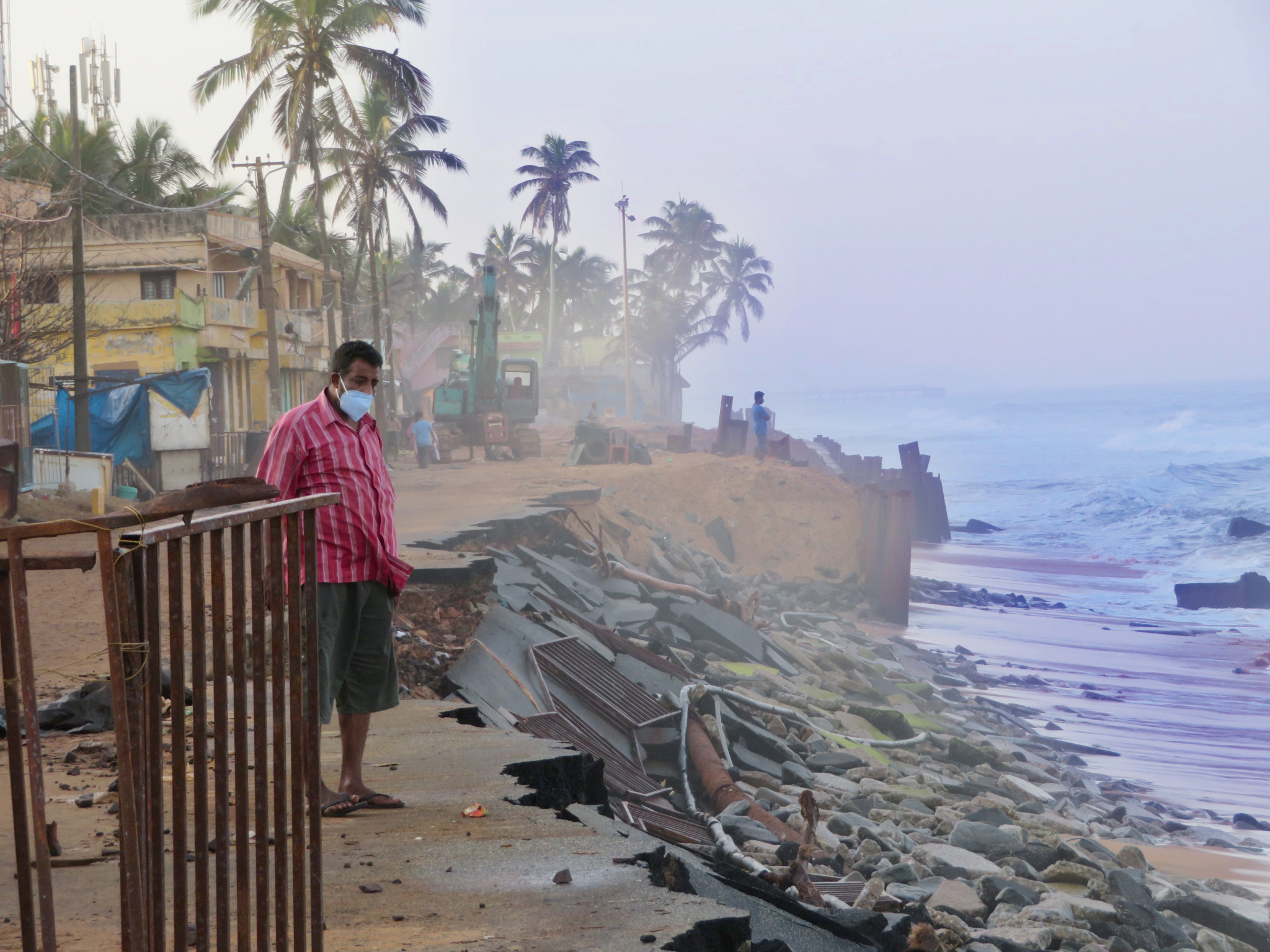 The shorefront at Shanghumukham Beach, Kerala, is eroding due to an altered regime of sediment movement