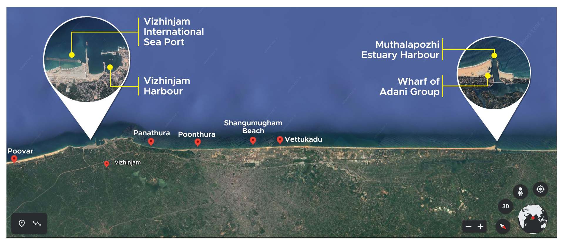 Google map showing locations of Vizhinjam and nearby coastal trouble spots