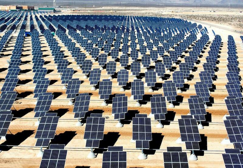 An array of solar panels at an Adani installation, Rajasthan. Courtesy Mercom India