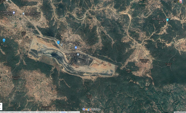 The Adani-operated PEKB coal mine in the Hasdeo forests. Image Google