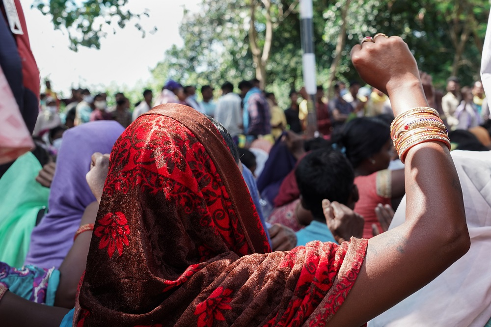 Adivasi people rally against Adani coal mines in the Hasdeo forests. Image Vijay Ramamurthy