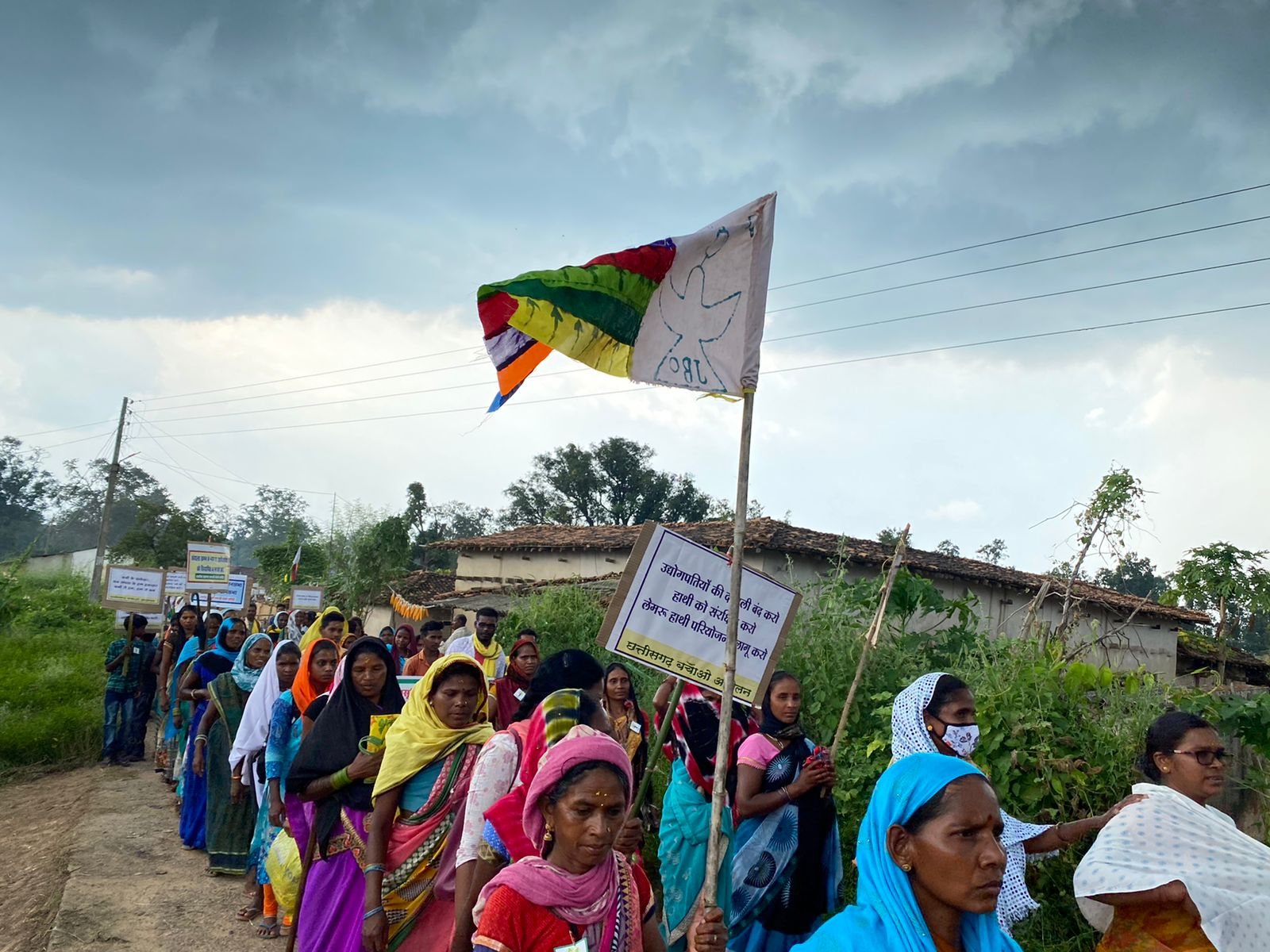 Participants in the 300-km march to save the Hasdeo forests in India. Photo Twitter / @SaveHasdeo