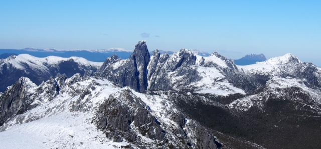 Federation Peak with snow.