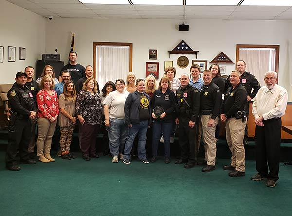 Police Celebrate Employee Shelly Augustino's 30 years of service