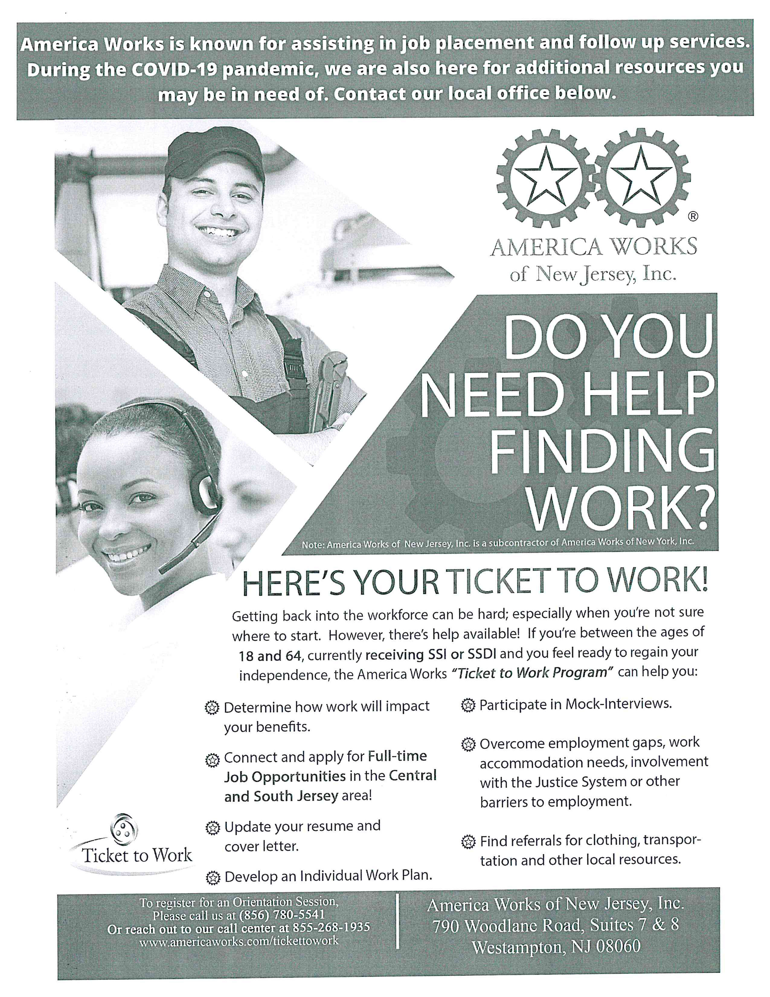 Do you need help finding a job? Contact America Works