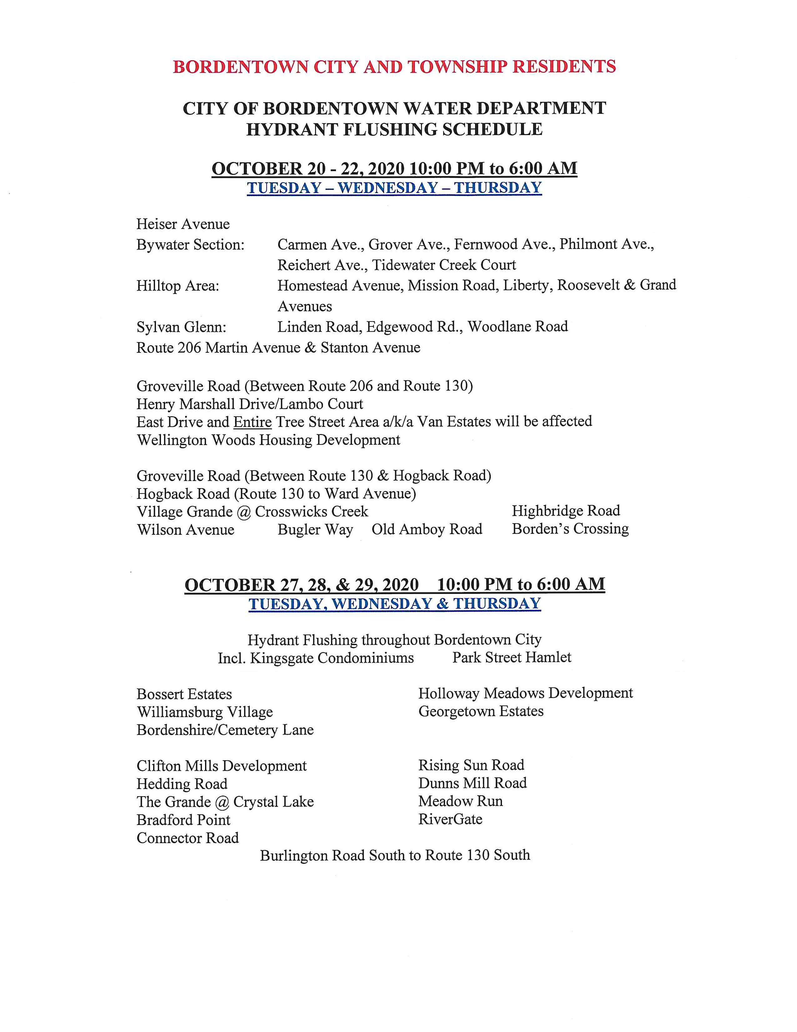 2020 Hydrant Flushing Schedule
