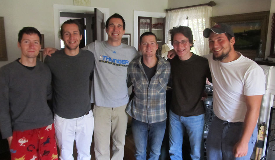 First (and only to this point) picture of the 6 of them together.  Eli, Nathanael, Clay, Ian, Liam and Gabriel.