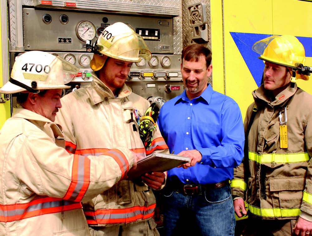 Dahle with Firefighters