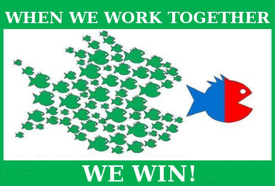 A cartoon of a lot of little green fish coming together to eat a large red and blue fish