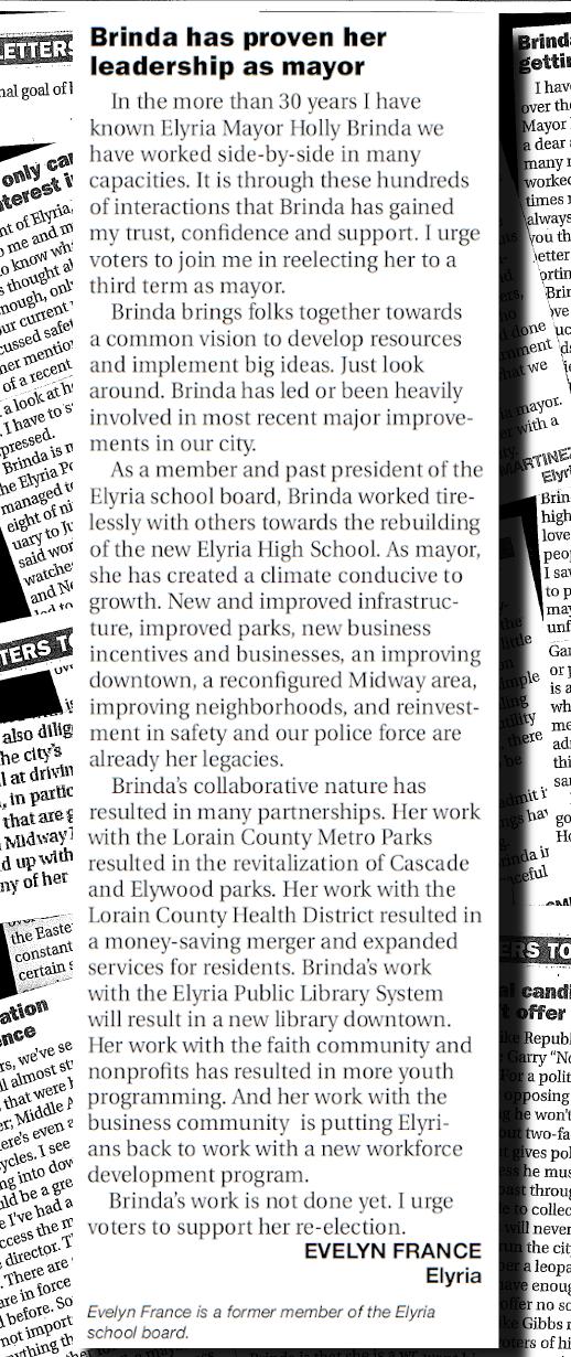 Endorsements and Elyrians Say    - Re-Elect Holly Brinda Mayor