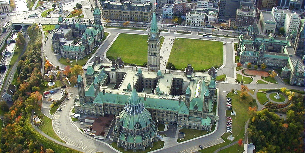 arial photo of Canadian Parliament