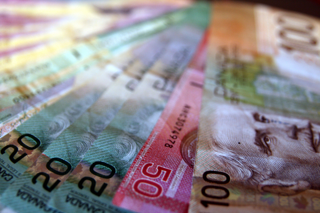 canadian money fanned out