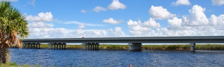 Water flowing under the Tamiami Trail's One-Mile Bridge