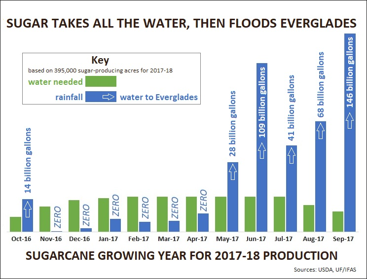 Chart: Sugarcane used up all the water, then flooded the Everglades