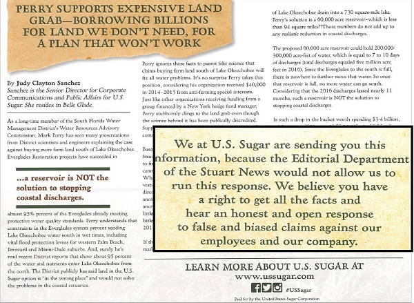 US Sugar's recent postal attack on Mark Perry by mail