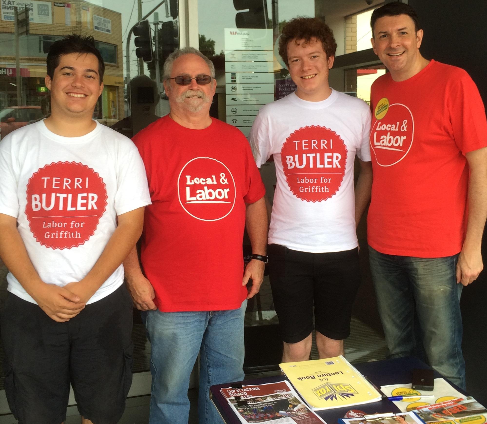Picture of volunteers wearing Terri Butler 2014 tshirts