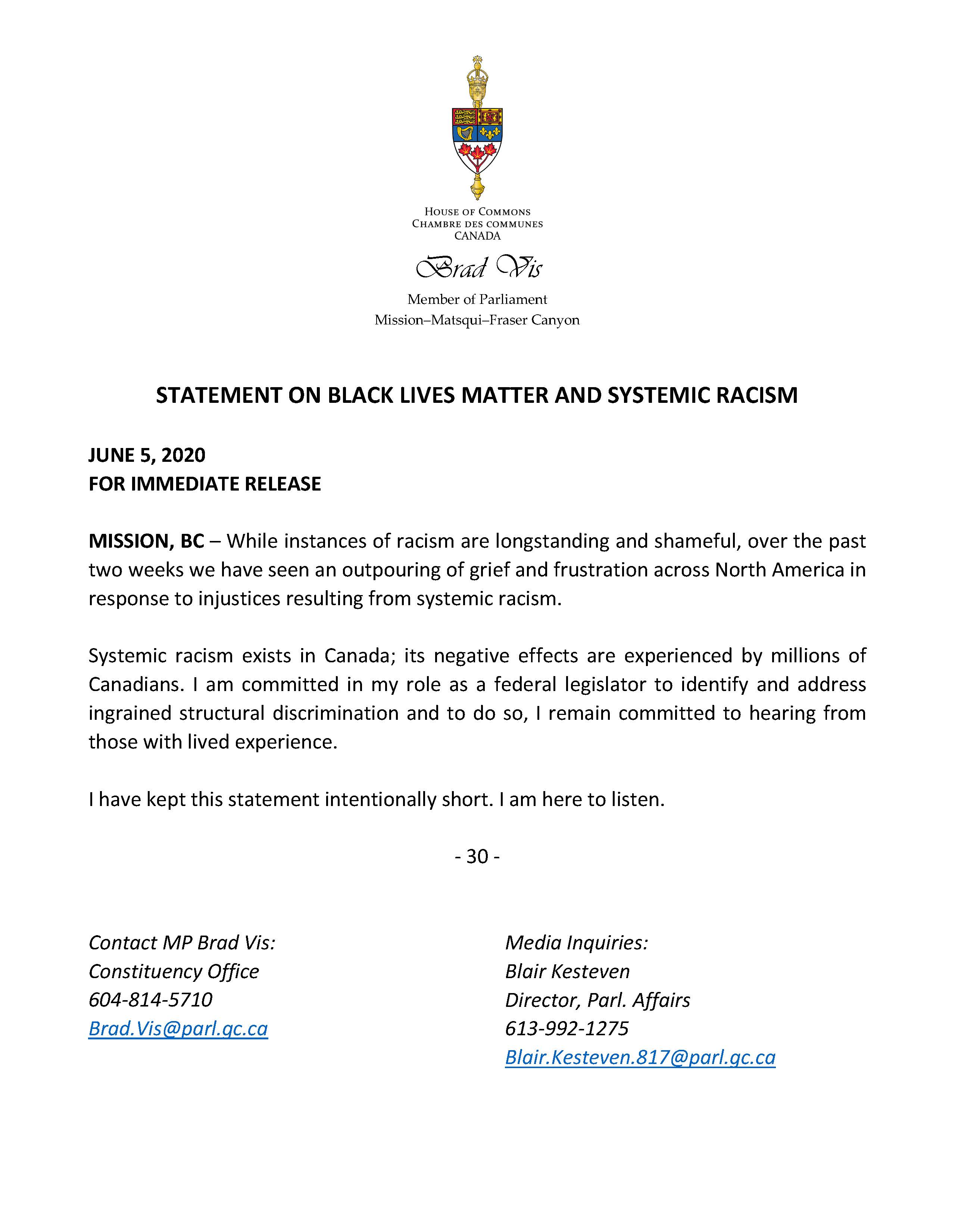 Statement on Black Lives Matter and Systemic Racism