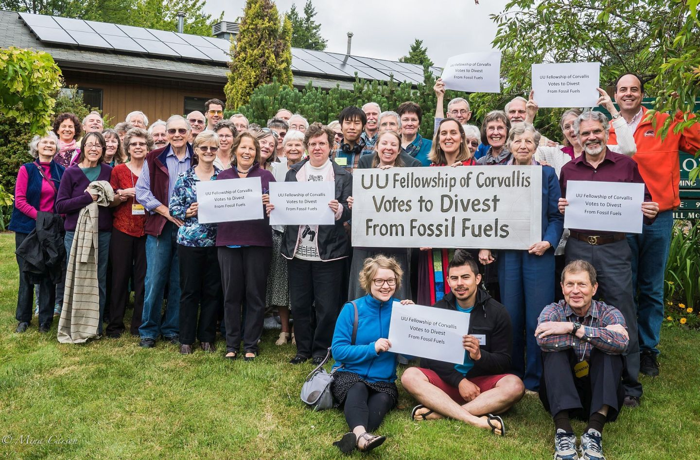 UU Fellowship of Corvallis gathered outside of the building in celebration