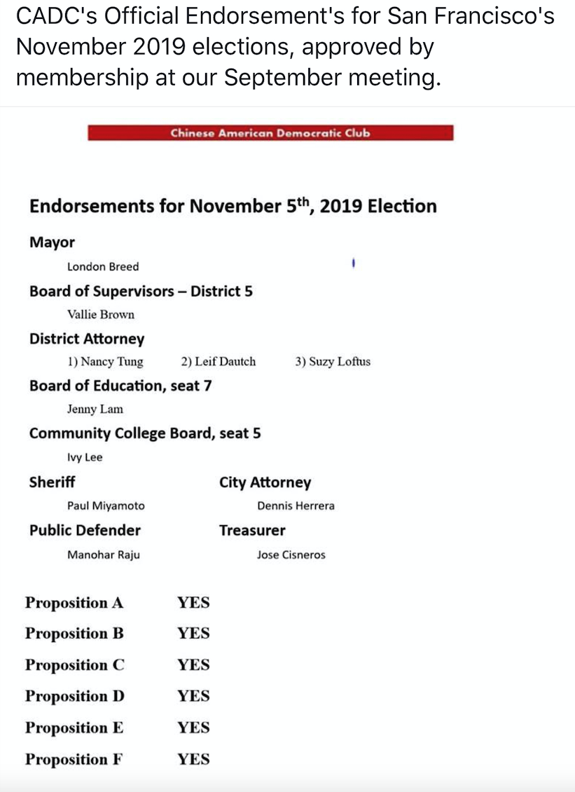 CADC November 2019 Election Endorsements