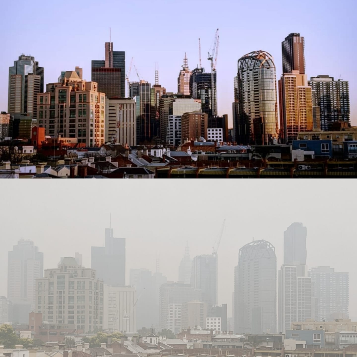 Two images comparing Melbourne with air pollution and without by Patrick O'Brien