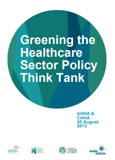 Report Cover: Greening the Healthcare sector