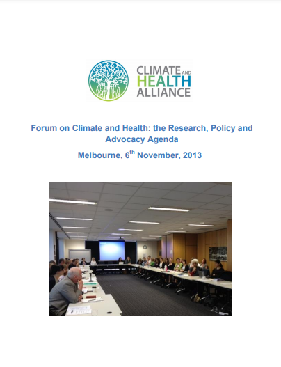 Report Cover: Forum on Climate and Health