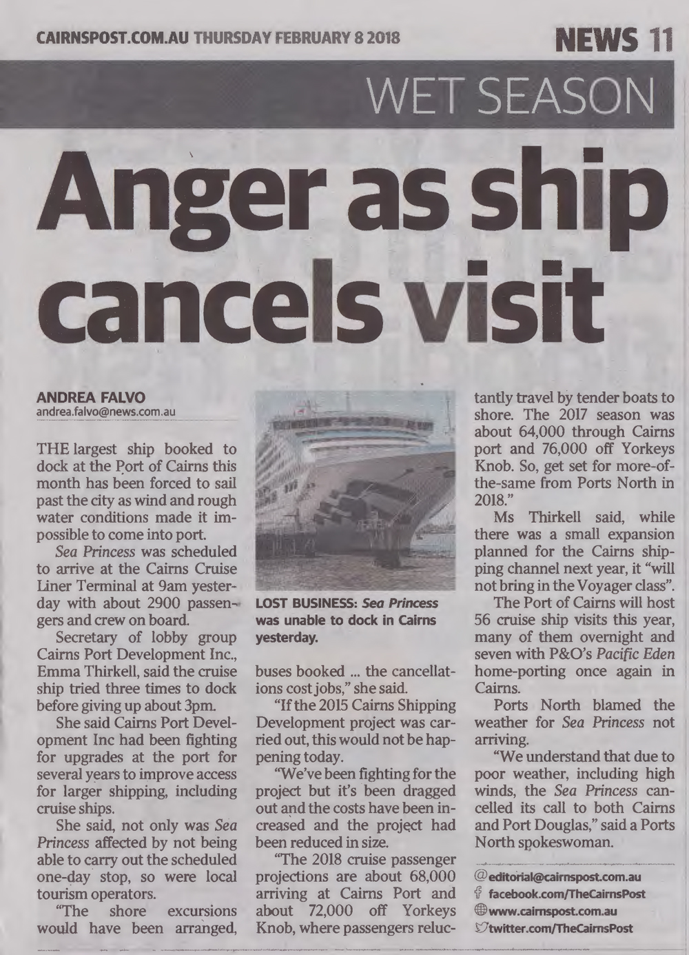 Anger as ship cancels visit