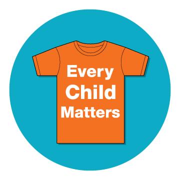 Logo with orange t-shirt in blue circle. T-shirt says \