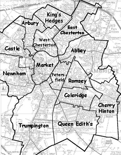 Map of Cambridge wards 2004