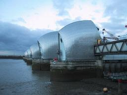 Thames Barrier flood defence on the River Thames at Woolwich.