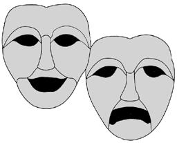 Drama logo - tragedy / comedy masks