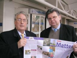 Andrew Dickson and David Howarth outside Addenbrooke's Hospital