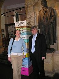 David standing in the Sedgewick Museum with Dr Tamsin Mather