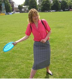 Councillor Smith playing frisbee on Parker's Piece