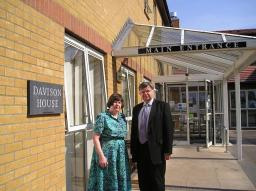 David Howarth with Romsey Councillor Catherine Smart outside Davison House, Brookfields Hospital