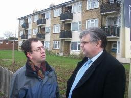 David Howarth discusses £8 million of negative subsidy with Arbury resident Alan Levy
