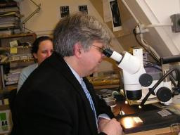 David Howarth looking into a microscope