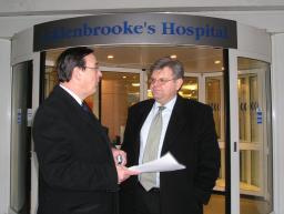 David Howarth with Health Scrutiny Chair Geoff Heathcock outside Addenbrooke's Hospital