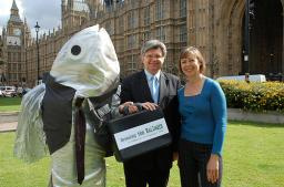 David Howarth with Jenny Agutter and the Sardine Man
