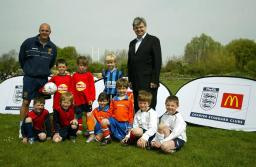David Howarth with the young players and coach